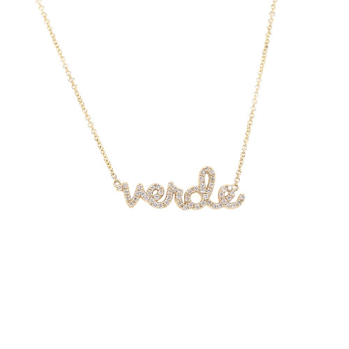 14KT Small Verde Script Necklace