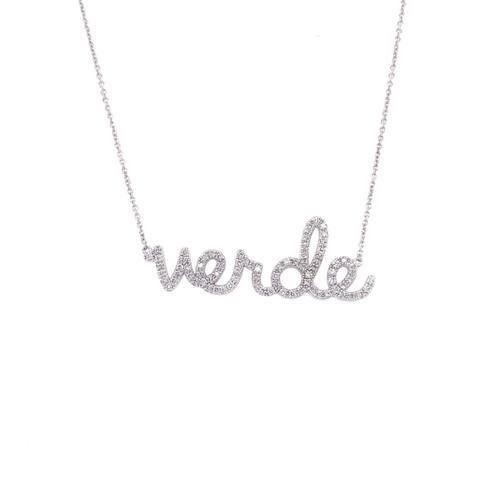 14KT Large Verde Script Necklace