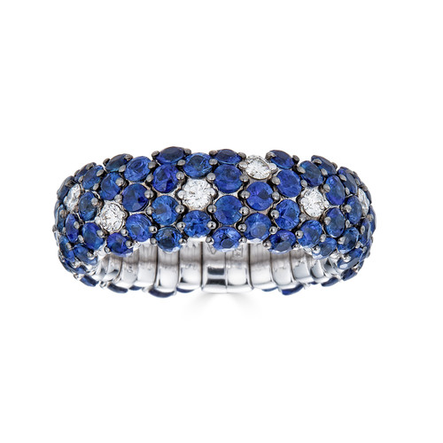 18KT Blue Sapphire Stretch Ring