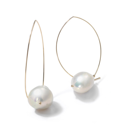14KT Marquis with Baroque White Pearl Earrings