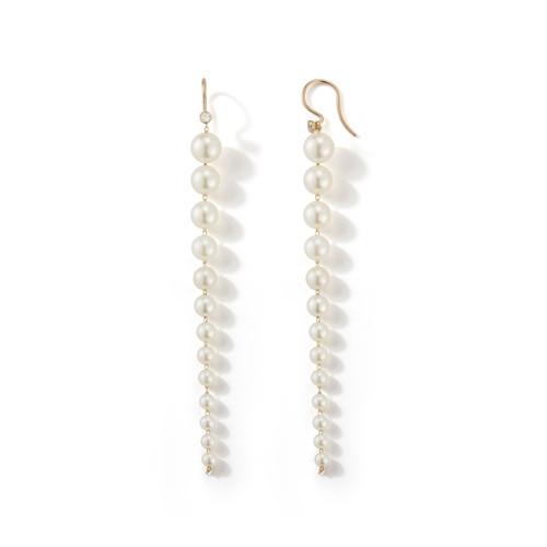14KT Graduating Pearl and Diamond Earrings