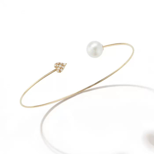 14KT Small Diamond Heart and Pearl Heart Cuff