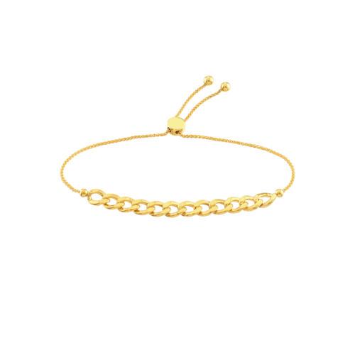 14KT Curb Link Bolo Bracelet