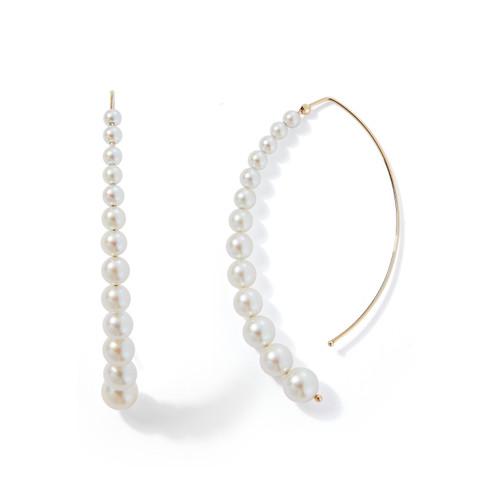 14KT Graduated Pearl Open Marquis Earrings