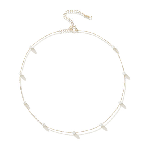 14KT Floating Pearl Chain Necklace