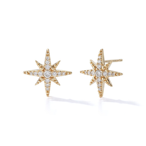 14KT Medium Diamond Star Studs