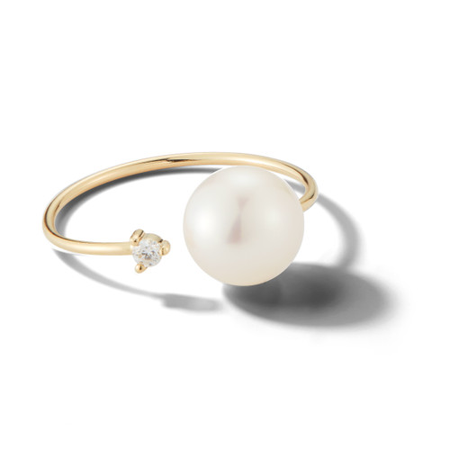 14KT Open Diamond and Pearl Ring