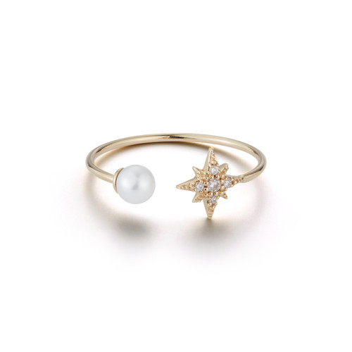 14KT Small Diamond Star and Pearl Ring