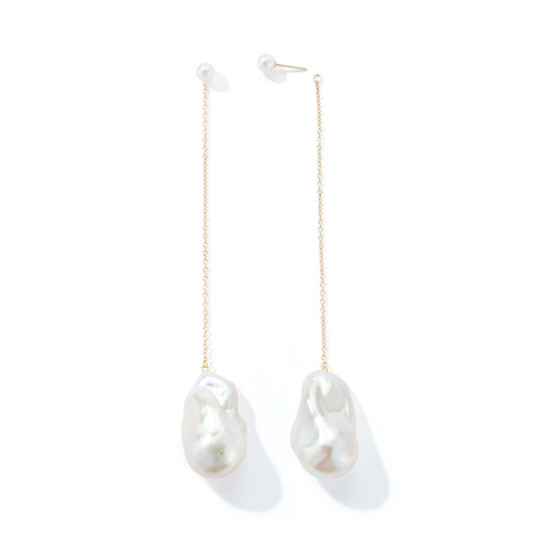 14KT Baroque and Freshwater Long Chain Earrings