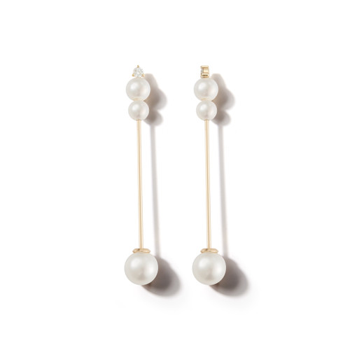 14KT Pearl and Diamond Stick Earrings