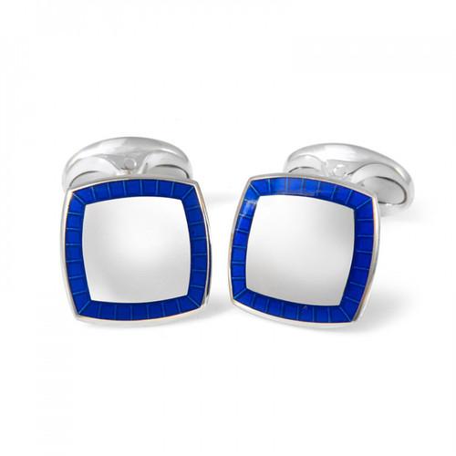 Blue Enameled Boarder Cufflinks