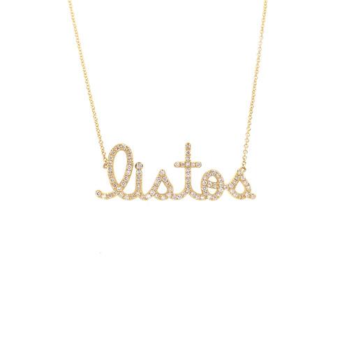 14KT Large Listos Diamond Script Necklace