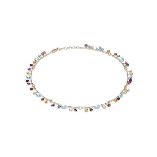 18KT Blue Topaz and Mixed Gemstone Single Strand Necklace