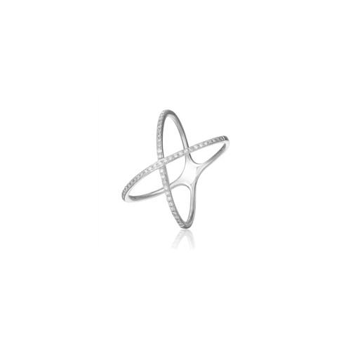 14KT Thin Pave Diamond Criss Cross Ring