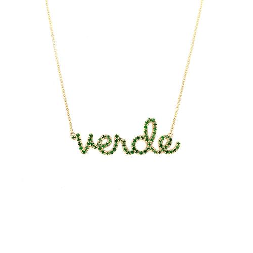 14KT Tsavorite Verde Script Necklace