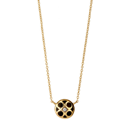 18KT Small Reversible Mogul Charm Necklace