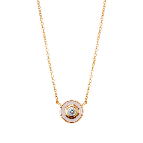 18KT Cosmic Mother of Pearl Diamond Necklace