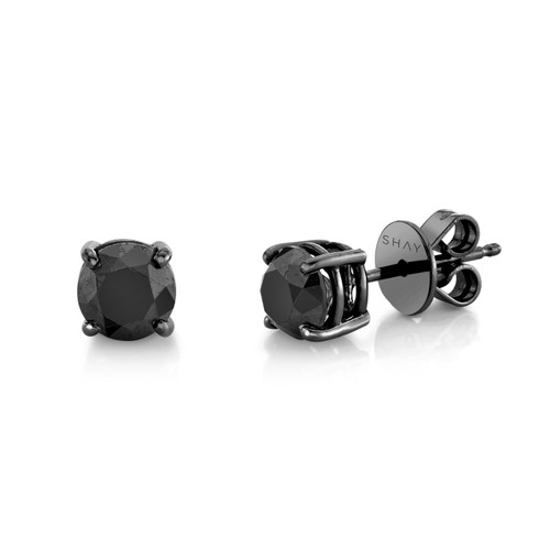 18KT Black Diamond and Gold Solitaire Earrings