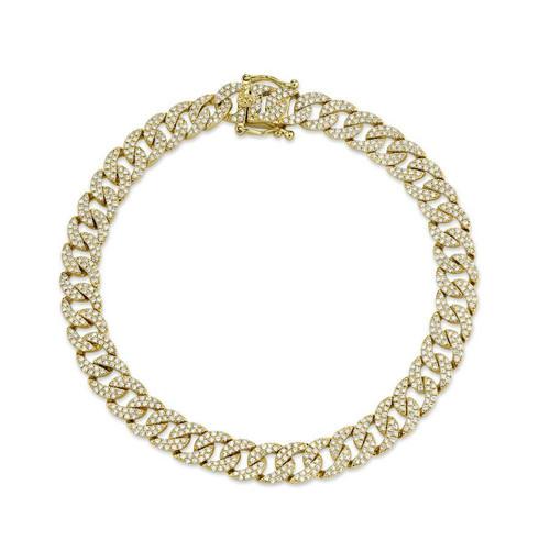 14KT Havana Diamond Pave Curb Link Bracelet