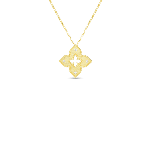 18KT Petite Venetian Princess Satin Flower Pendant Necklace