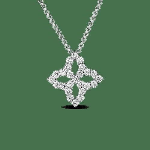 18KT Diamond Princess Flower Pendant Necklace