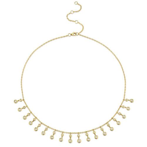 14KT Diamond Bezel Dangle Necklace