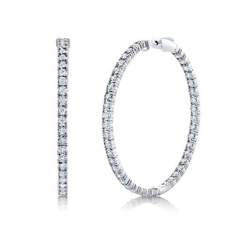 14KT 2.65ct Diamond Hoop Earrings