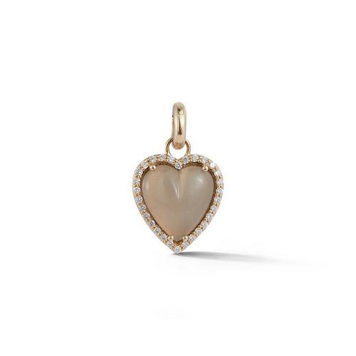 14KT Grey Moonstone Alana Heart Charm