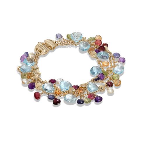 18KT Mixed Gemstone Triple Strand Bracelet