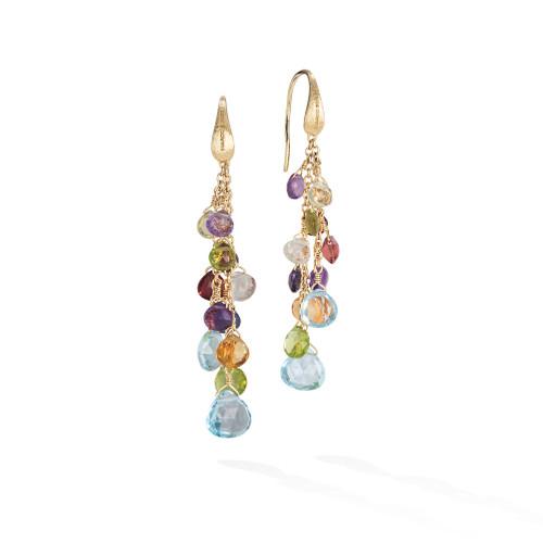 18KT Mixed Gemstone Multi Strand Earrings