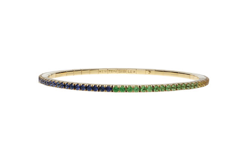 18KT Small Rainbow Sapphire Tennis Stretch Bracelet