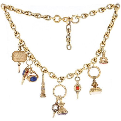 19KT Open Link Victorian Charm Necklace