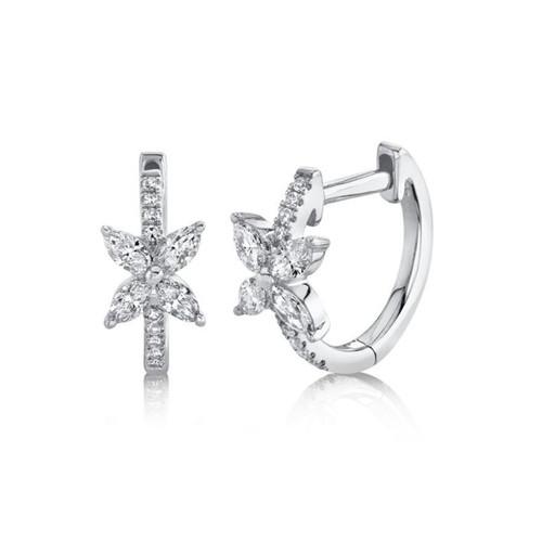 14KT Diamond Flower Huggie Earrings