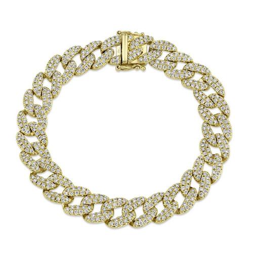 14KT Medium Diamond Pave Curb Link Chain Bracelet