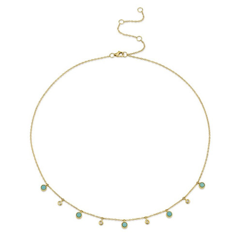 14KT Turquoise and Diamond Dangle Necklace