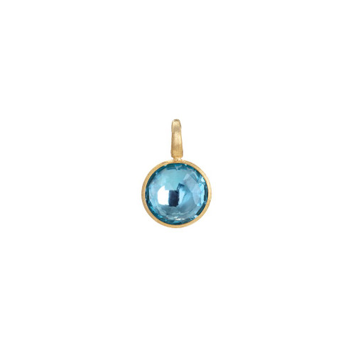 18KT Small Blue Topaz Stackable Pendant