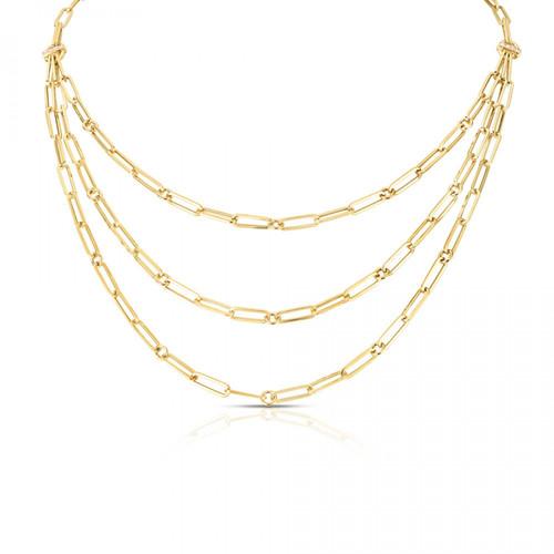 18KT Triple Strand Paper Clip Necklace