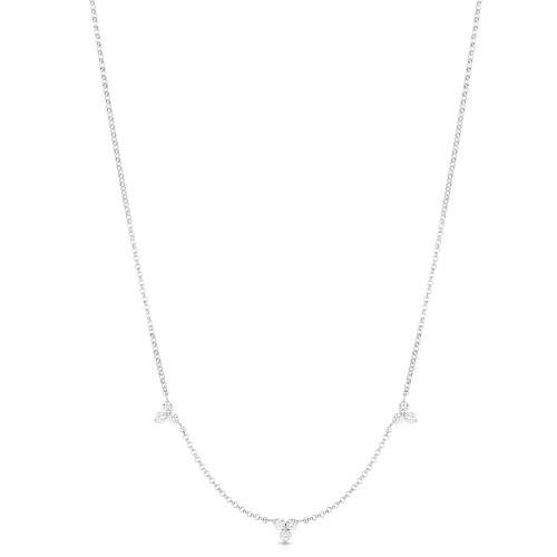 18KT Diamond 3 Station Necklace