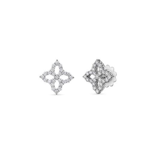 18KT Diamond Princess Flower Stud Earrings