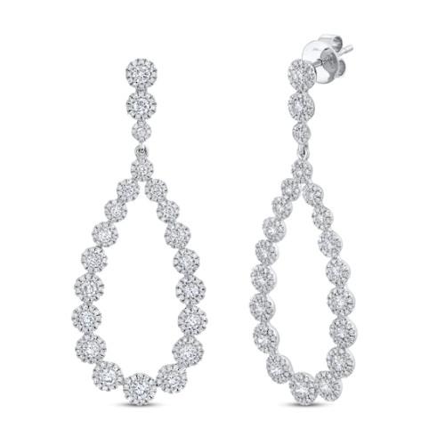 14KT Open Pear Shaped Dangle Earrings