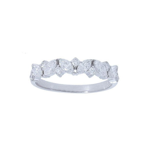 14KT Alternating Marquise and Round Diamond Band