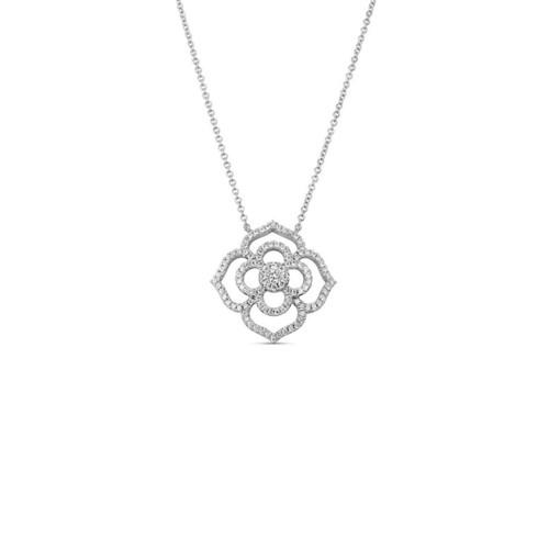 14KT Diamond Flower Pendant Necklace