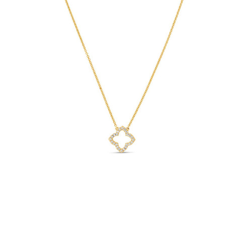 14KT Small Open Flower Pendant Necklace