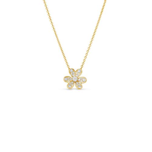 14KT Small Diamond Flower Pendant Necklace