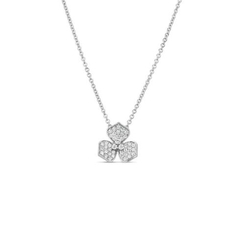 14KT Small Three Pedal Pave Diamond Flower Pendant