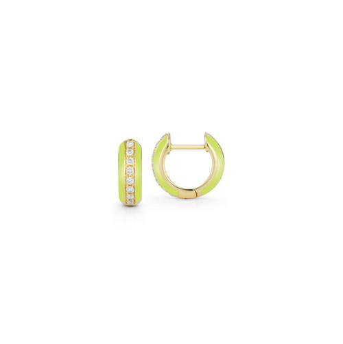 14KT Enamel and Diamond Huggie Hoop Earrings
