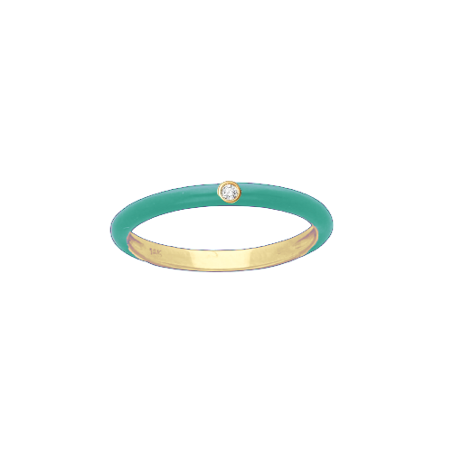 14KT Enamel and Diamond Ring