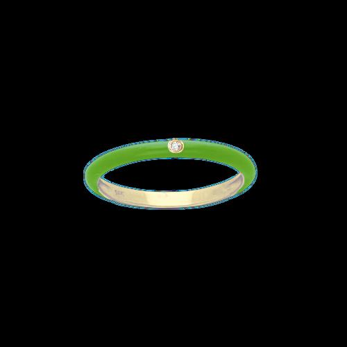 14KT Small Enamel and Diamond Ring