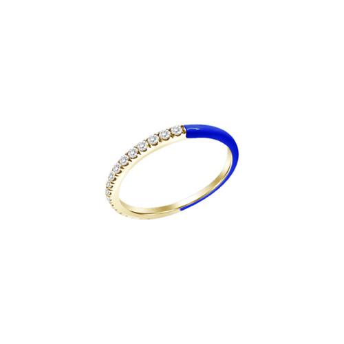 14KT Half Enamel and Diamond Ring