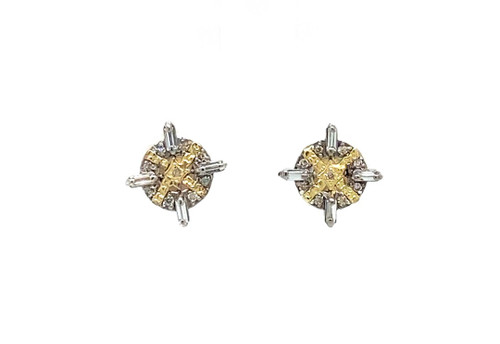 18KT Round White Sapphire and Diamond Earrings